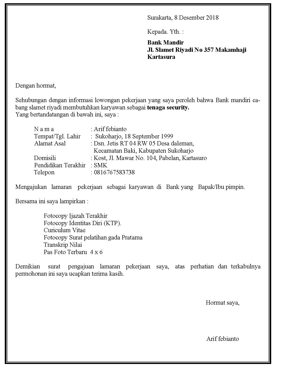 Contoh surat lamaran kerja security di Bank Mandiri