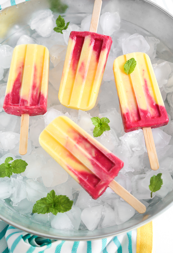 Mango Raspberry Lassi Ice Pops