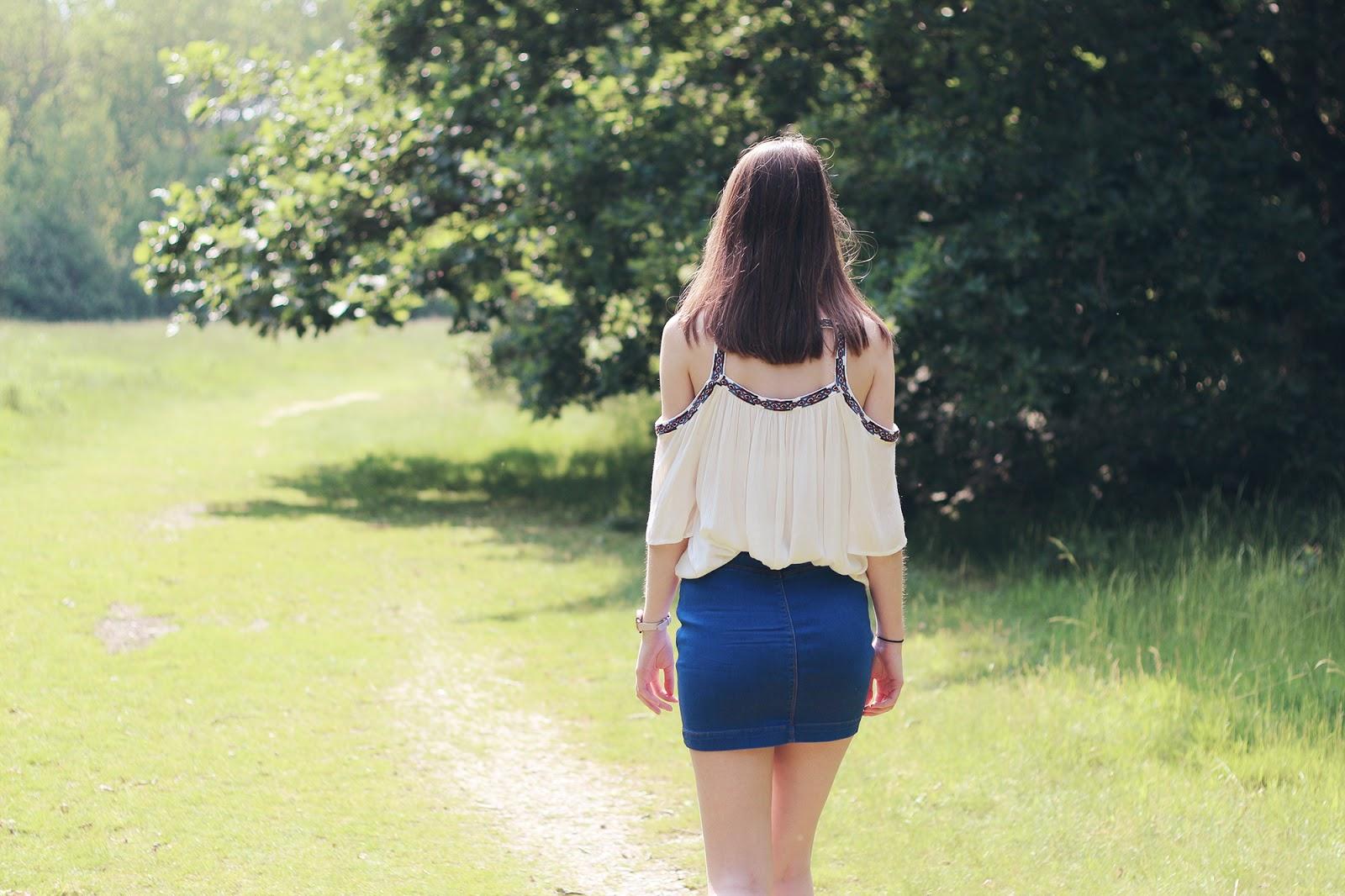 Denim skirt and cold shoulder top