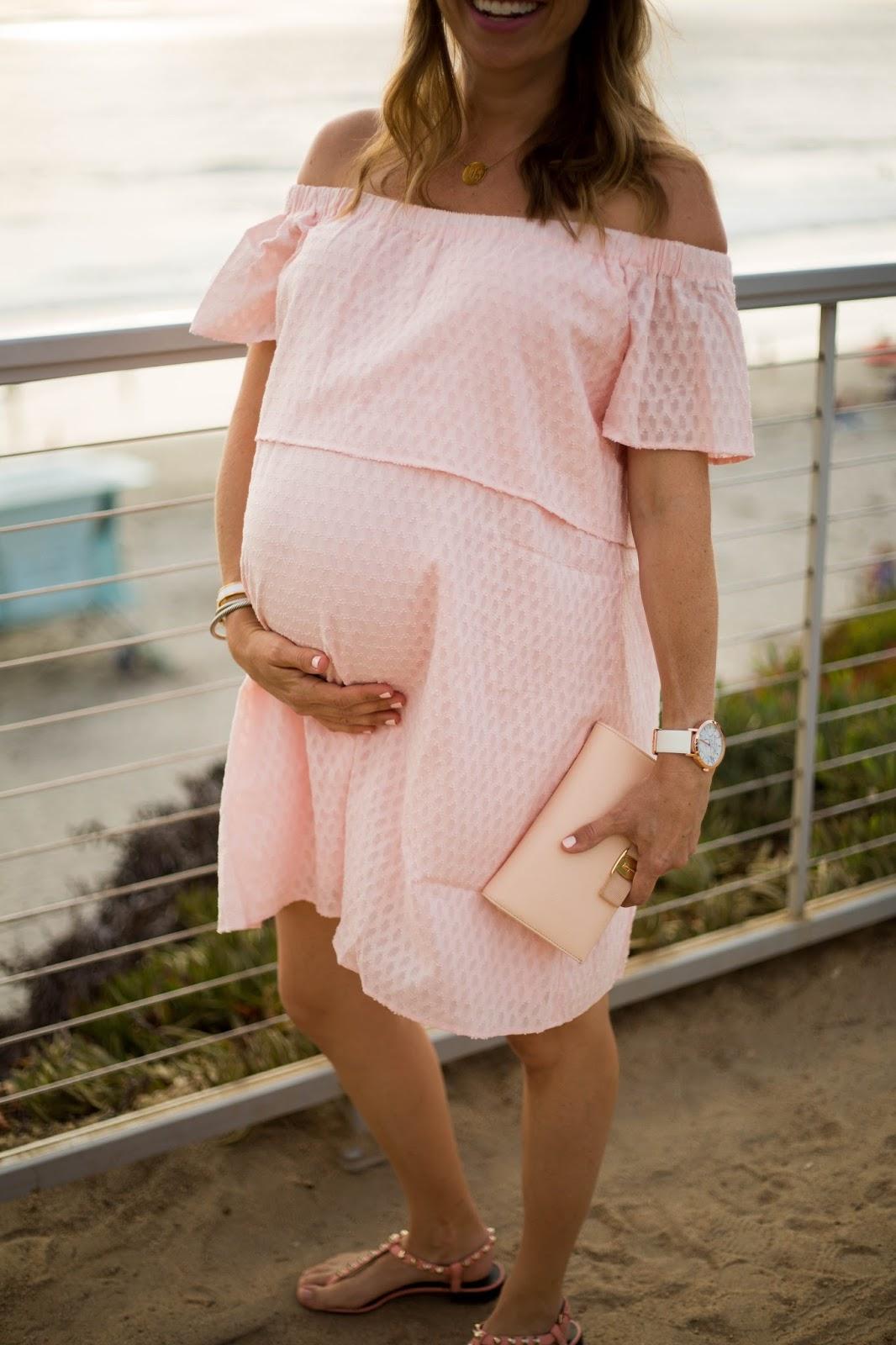 maternity pink off the shoulder dress