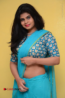 Telugu Actress Alekhya Stills in Green Saree at Swachh Hyderabad Cricket Press Meet  0054.JPG