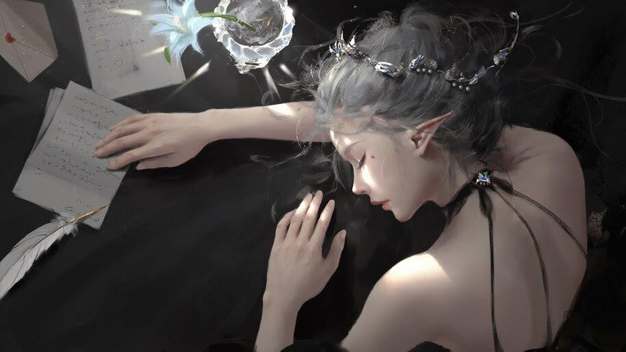 Elf, Girl, Sleeping, Fantasy, 4K, #6.761