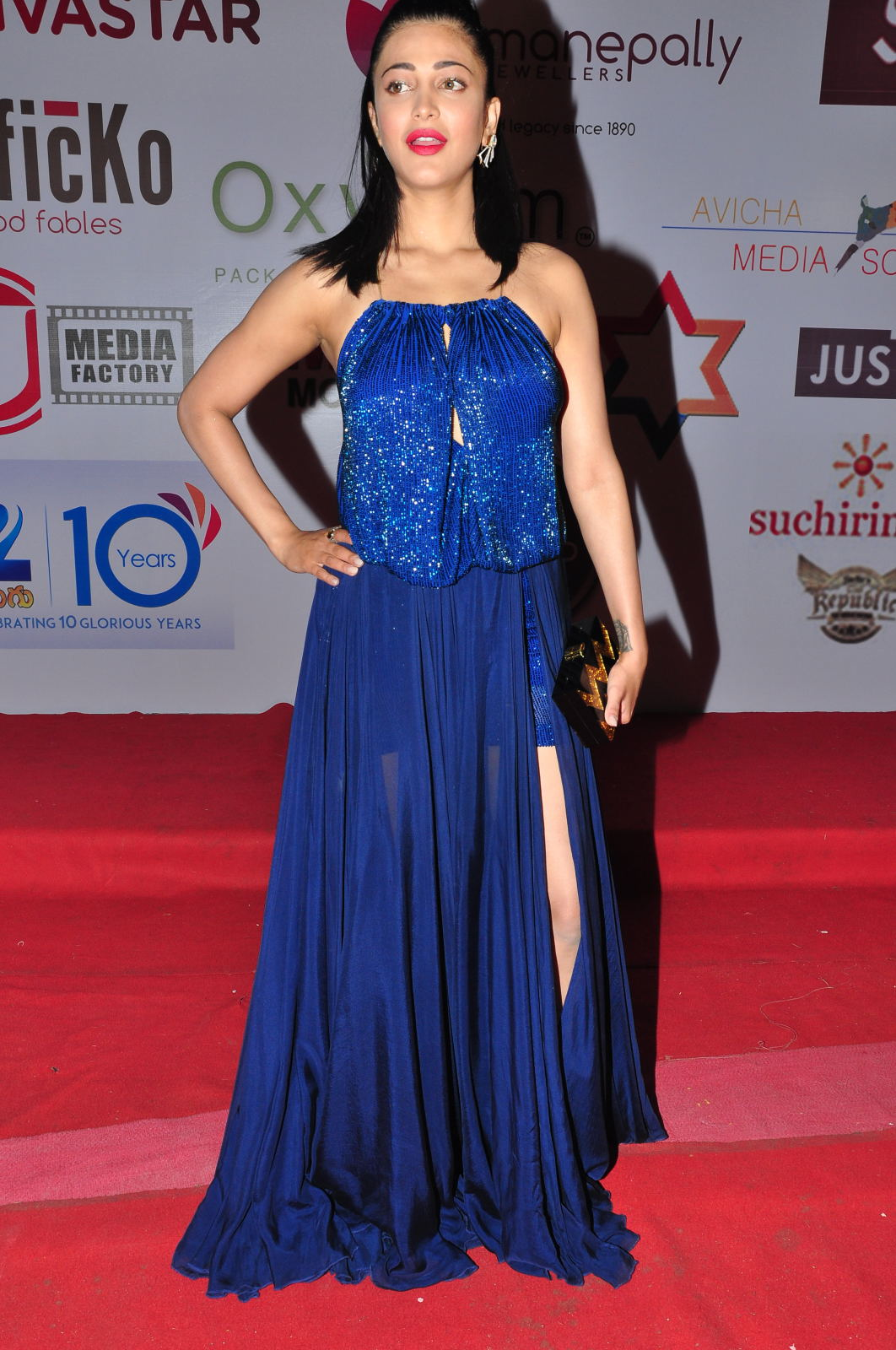 Shruti Hassan In Blue Gown at Movie Audio Release