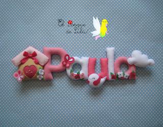 nombre-fieltro-felt-feltro-Paula-pajaritos-regalo-personalizado-name-banner-elbosquedelulu-hechoamanoparati-babyroom