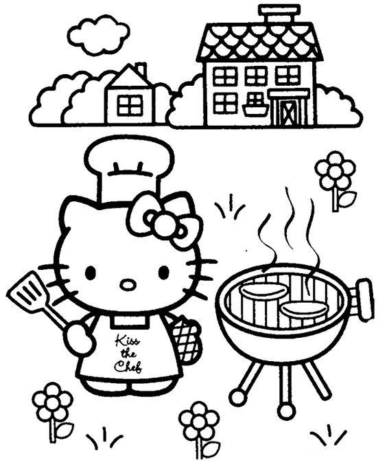 Tranh tô màu mèo hello kitty làm đầu bếp