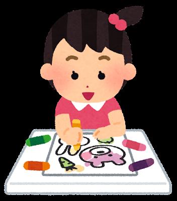 塗り絵をする女の子のイラスト