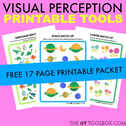 Use visual perception worksheets to work on visual perceptual skills like figure-ground, visual discrimination, visual closure, visual attention, and other skills needed for handwriting, reading, and learning.