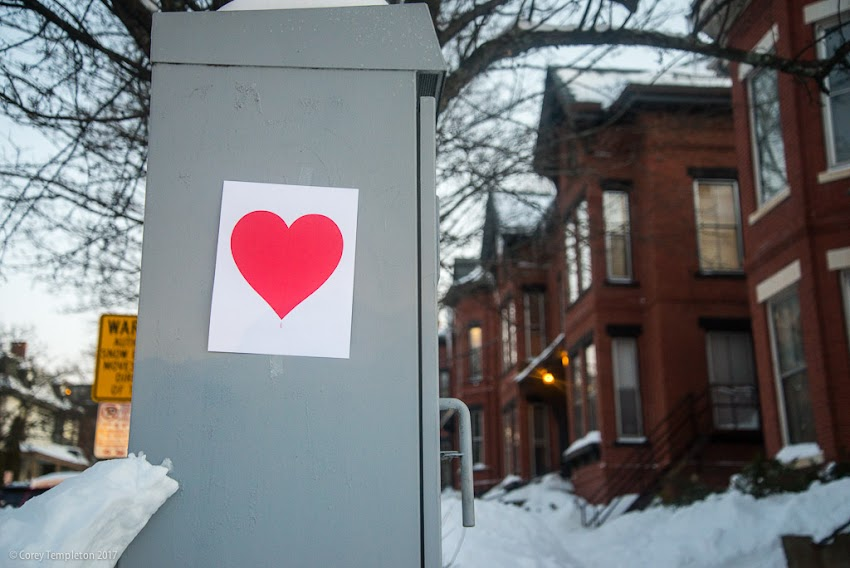 Portland, Maine February 2017 photo by Corey Templeton of Valentine's Day Heart by Valentine's Bandit at State Street and Cumberland Avenue in Parkside neighborhood.
