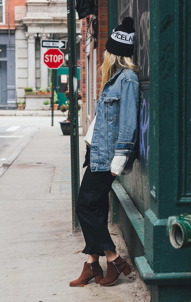 Heleneisfor #MBMuse - Matt Bernson Caspian booties, Reformation pants, Levi's jacket, Need Supply boyfriend sweater