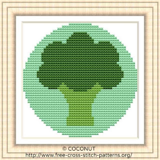 BROCCOLI VEGETABLE ICON, FREE AND EASY PRINTABLE CROSS STITCH PATTERN