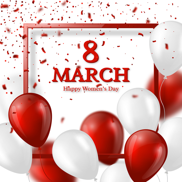 March 8 greeting card Women Day with balloon free vector