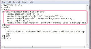 contoh penggunaan meta tag blog