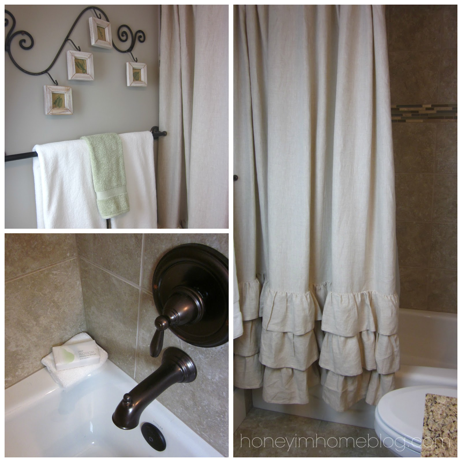 Pottery barn bathroom shower curtains -  Shower Curtain From Pottery Barn The Color Of Mine Is Flax It Also Comes In White A Really Pretty Grey I Hung It A Little High To Accent The