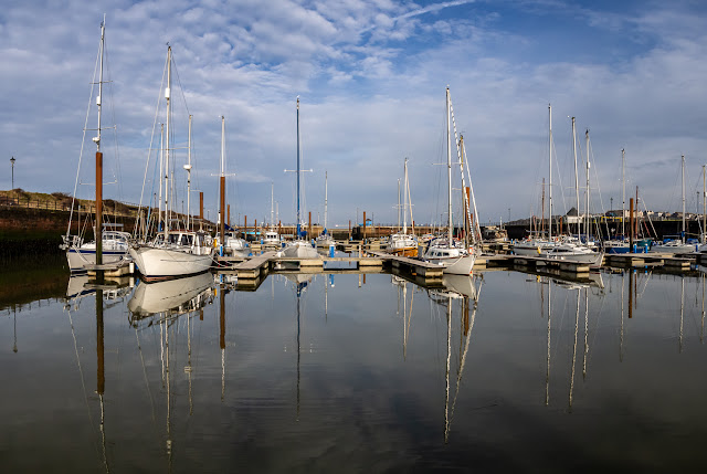 Photo of calm conditions at Maryport Marina on Monday