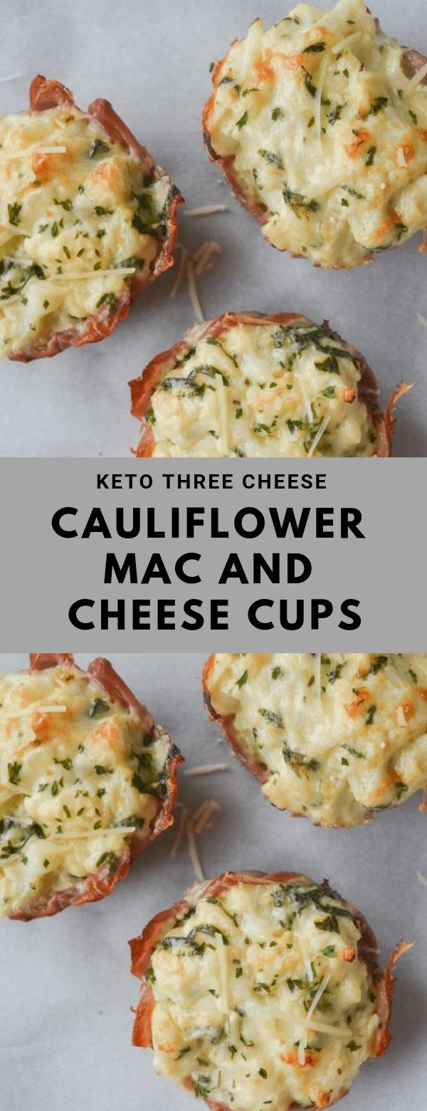 KETO THREE CHEESE CAULIFLOWER MAC AND CHEESE CUPS #GLUTENFREE #KETO #LOWCARB #PASTA #SNACK