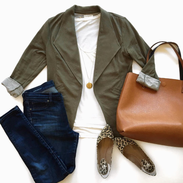 olive blazer + white tee + jeans + leopard shoes