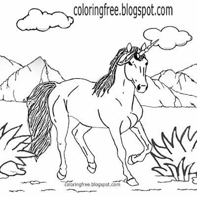 Cartoon imaginary landscape realistic drawing unicorn mythical colouring scrapbook pictures for kids