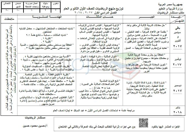 توزيع منهج الرياضيات للصف الأول الثانوي الترم الأول 2018