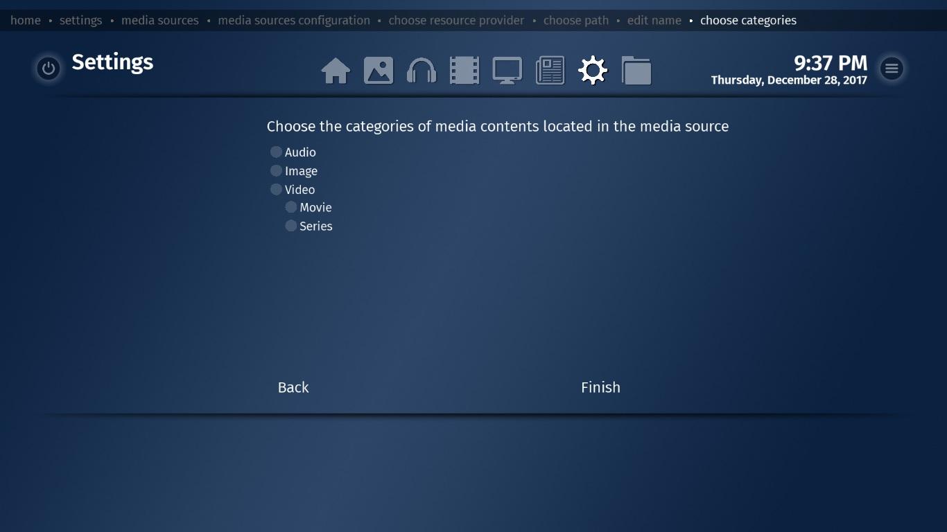 Choose mediaserver library category audio, video, pictures, music