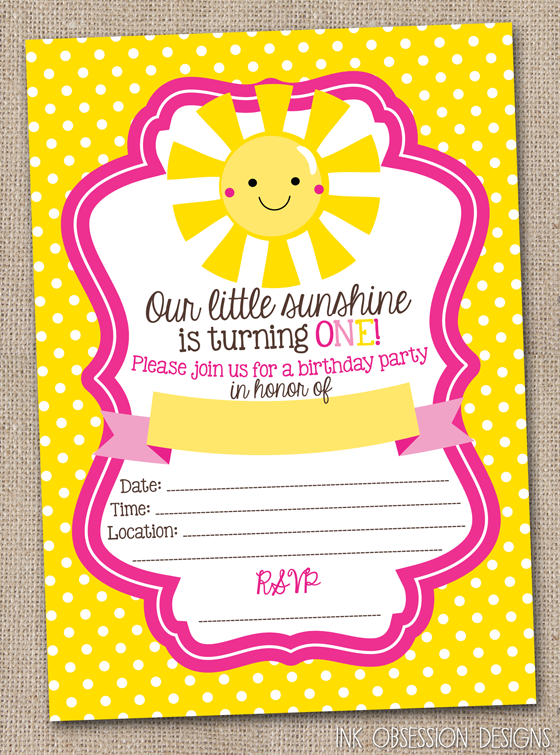 ink obsession designs little sunshine first birthday party instant