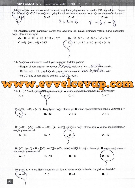 7. Sınıf Matematik Koza Yayınları 50. Sayfa Cevapları