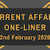 Current Affairs One-Liner: 2nd February 2020