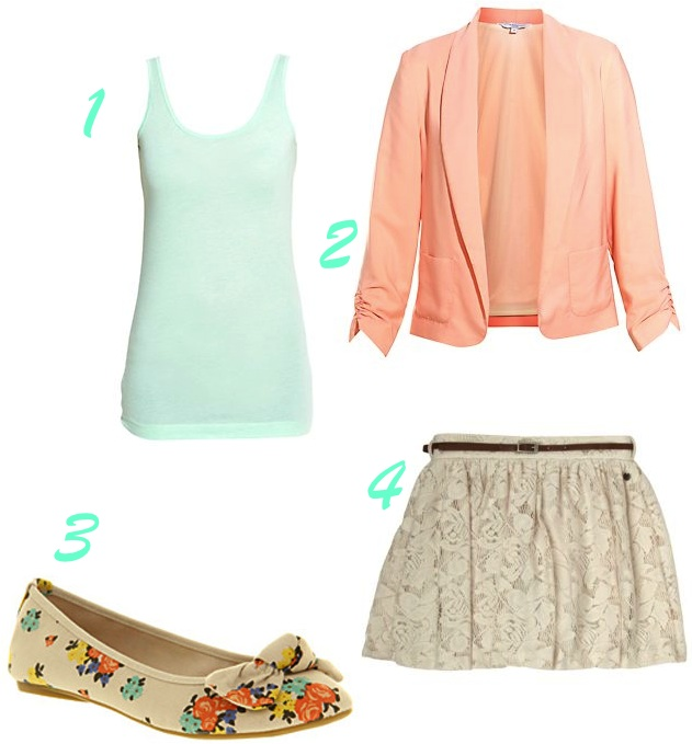 d033f94f5e 1)Mint Vest top: £3.99 New Look 3)Patterned pumps: £25 Office 4)Lace mini:  £12 Matalan Worn with the vest tucked in, and the skirt around lower waist  level, ...
