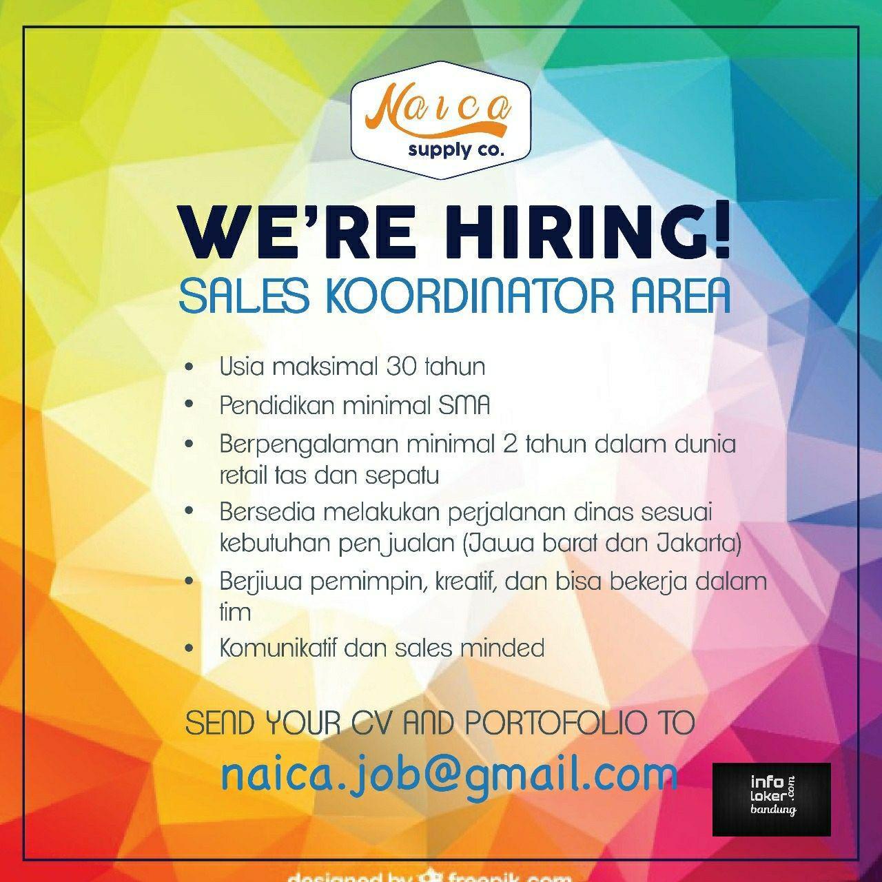 Lowongan Kerja Sales Koordinator Area Naica Supply Co Agustus 2017