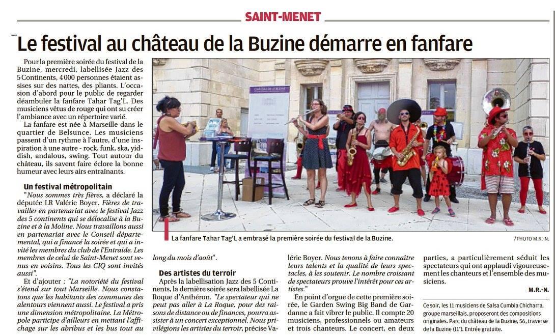 Article de presse La Provence 1er septembre le Festival de la Buzine du mercredi 30 Août au 2 Septembre 2017 au Château de la Buzine à Marseille