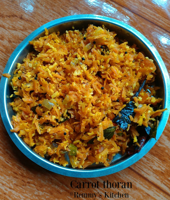Carrot thoran / Carrot stir fry with coconut