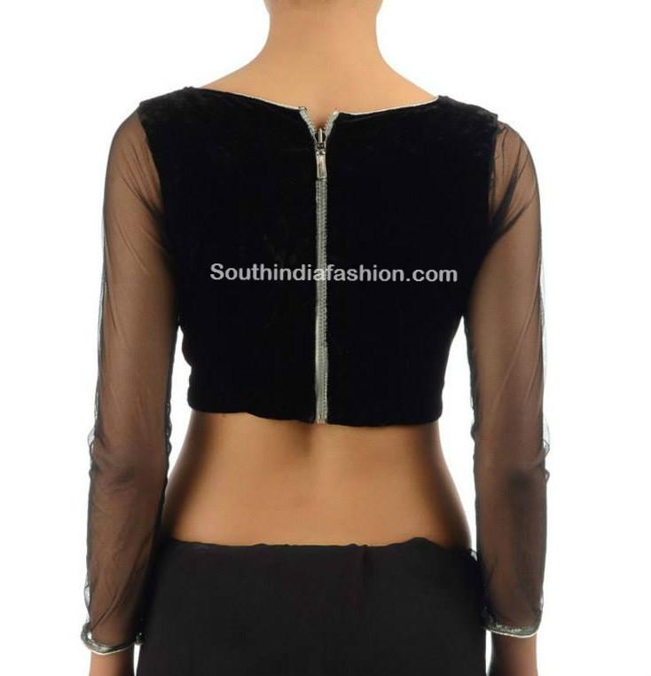 stylish black saree blouse designs �south india fashion