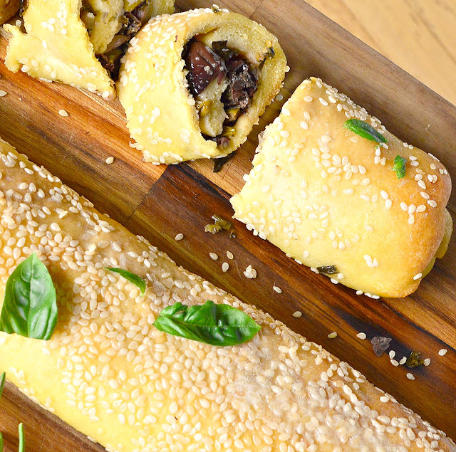 Greek Olive Bread Rolls made from olive oil and orange juice make a gorgeous dough to surround this olive filling! So good and it makes three! #bread #olives #Greekfood #yeastfree www.thisishowicook.com