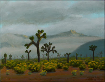 Mojave, desert, landscape, painting, art, joshua trees, Joshua Tree National Park,clouds, fog, wildflowers, rabbitbrush