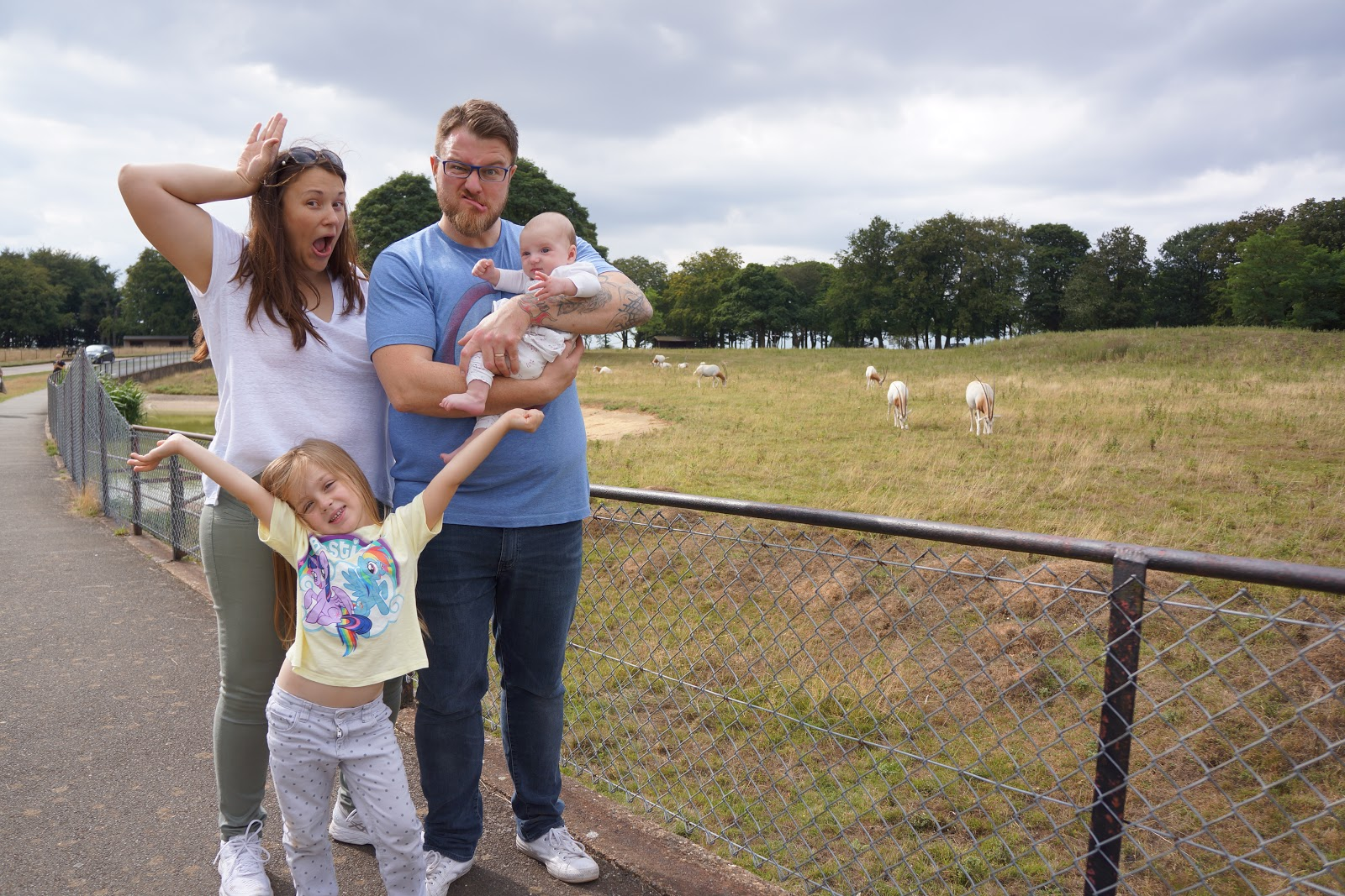 family picture at whipsnade zoo with antilopes funny faces