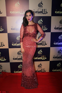 Actress Sophie Choudry in Transparent Red Dress (9).JPG
