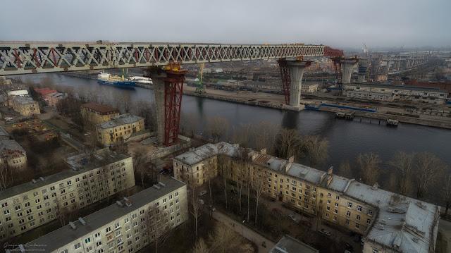 Репортаж строительства Западного Скоростного Диаметра (ЗСД) в Санкт-Петербурге. Съемки с воздуха. Канонерский остров