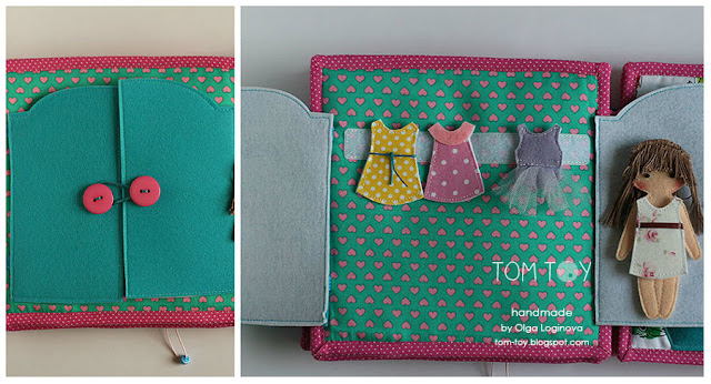 Quiet book for Olivia. Handmade busy cloth book for a girl, doll dressing