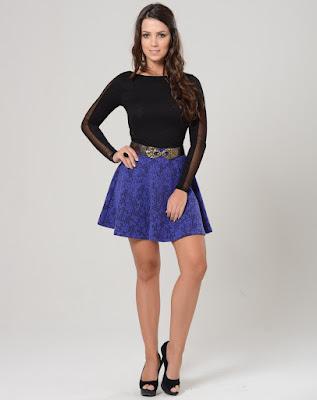 saia azul blue skirt linda moda tendencia elegante moderna fashion barata atual descolada feminina mulher falda gonna blu jupe bleue curta azul royal renda estampa preto