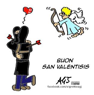 San valentino, isis, vignetta satira