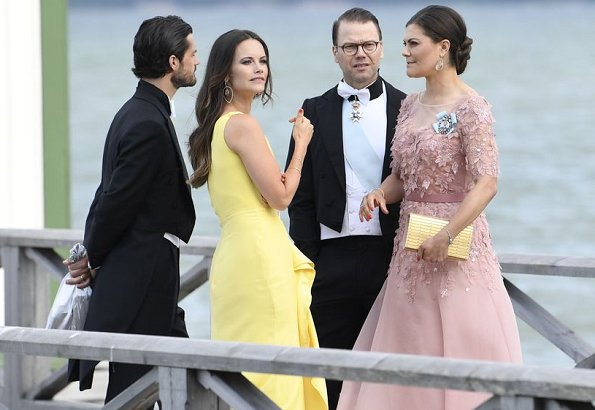 Princess Madeleine wore RED Valentino Natural Pleated Tulle Floral print Midi Dress. Queen Silvia, Crown Princess Victoria, Princess Sofia at wedding