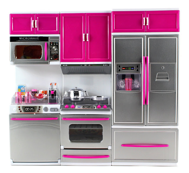 A small doll sized pink kitchen set with doors that open and close.