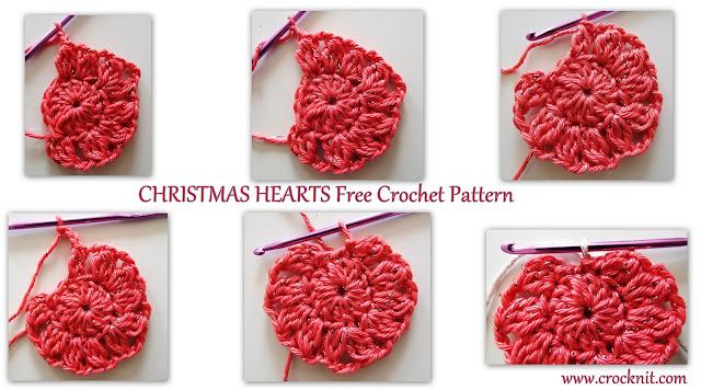how to crochet, free crochet patterns, hearts, christmas hearts,