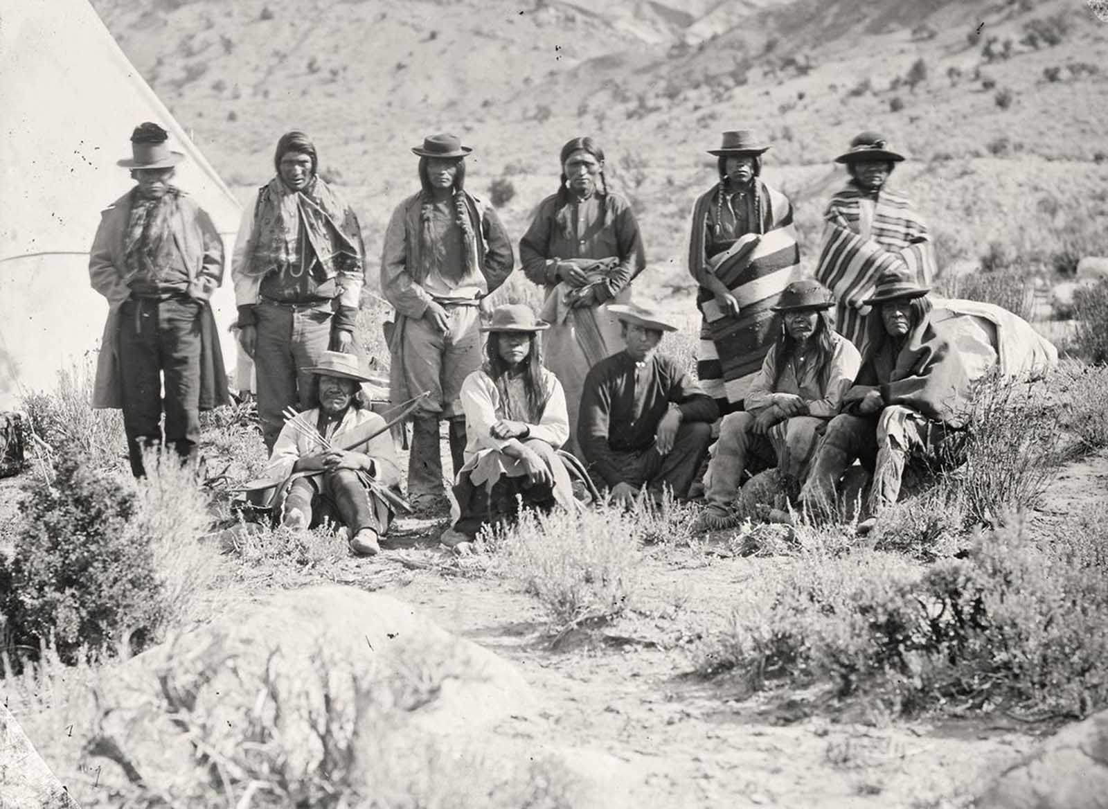 Pah-Ute (Paiute) Indian group, near Cedar, Utah, in 1872.