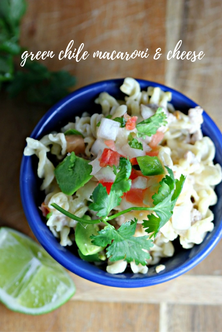 Green Chile Pork Macaroni & Cheese - one pot and ready in less than 30 minutes