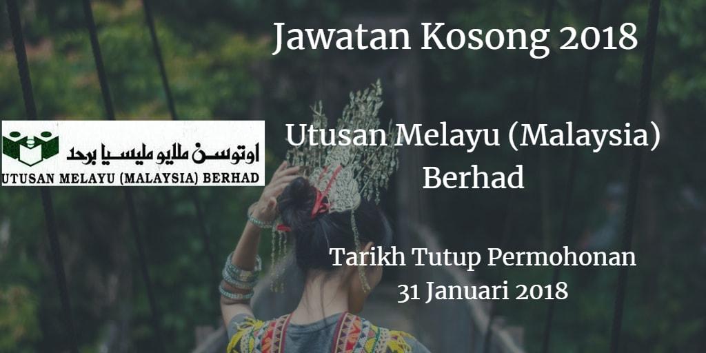 Jawatan Kosong Utusan Melayu (Malaysia) Berhad  31 Januari 2018