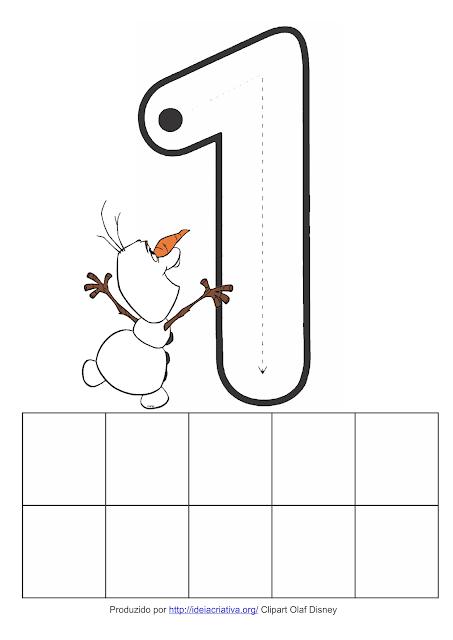 Fichas com Numerais 1 ao 5 Olaf  do Filme Frozen