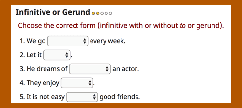 Infinitive or gerund online exercises