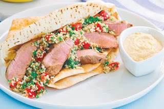 Lamb, tabouli and hummus wrap recipe