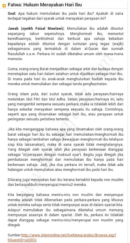 HARI IBU DALAM ISLAM