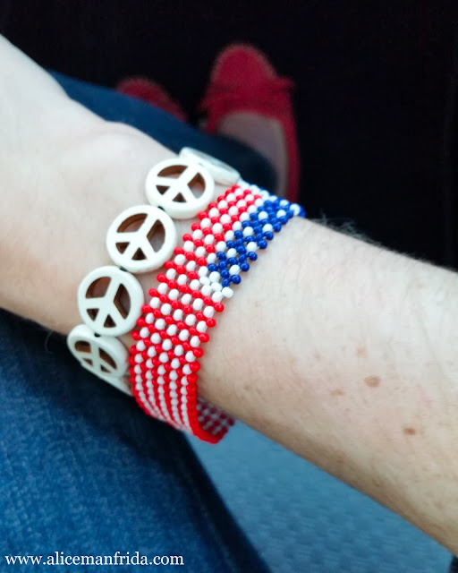 Chavez for Charity, American Flag, bracelets, beads, peace sign, accessesories